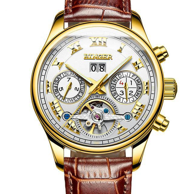 MONTRE ROYAL - Gold | Weiß | Braunes Leder