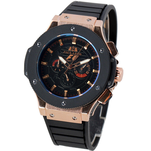 Men Luxury Automatic Self Wind Mechanical Rose Gold Silver Black Case Rubber Strap Sports F1 Geneve Classic Watches