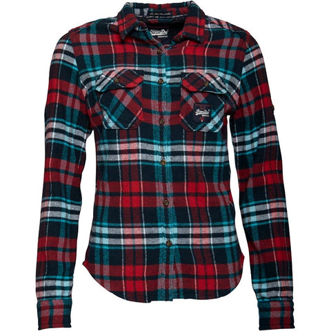 Superdry Womens Milled Flannel Shirt Cherry Checked Aqua