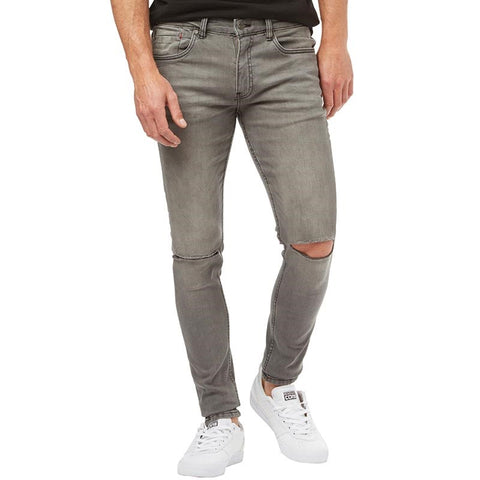 Ringspun Mens Apollo Super Skinny Fit Jeans With Rips Grey