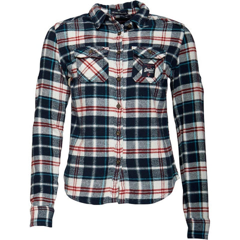 Superdry Womens Milled Flannel Shirt Ocean Blue Check