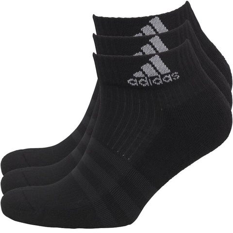 adidas 3 Stripe Performance Cushioned Three Pack Ankle Socks Black/Black/Light Grey