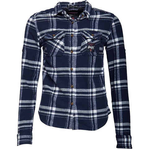 Superdry Womens Milled Flannel Shirt Atlantic Check
