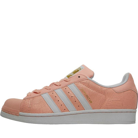 adidas Originals Girls Superstar Reptile Trainers Haze Coral/White/White