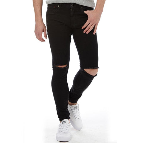 Ringspun Mens Apollo Super Skinny Fit Jeans With Rips Black