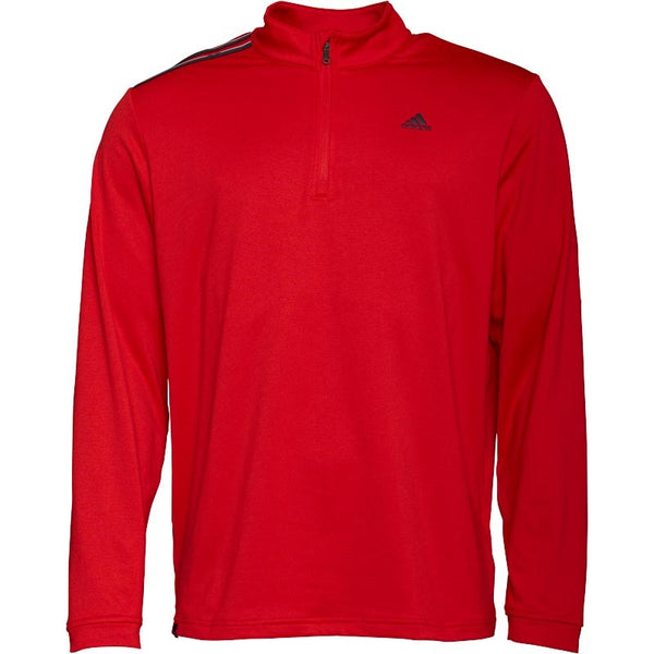 adidas Mens 3 Stripe French Terry 1/4 Zip Top Scarlet