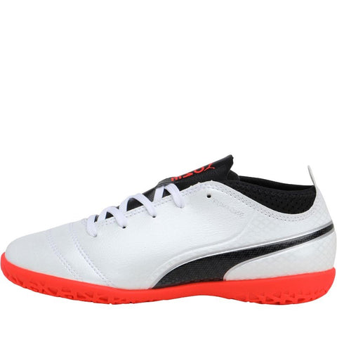 Puma Junior One 17.4 IT Indoor Football Boots White/Black/Fiery Coral