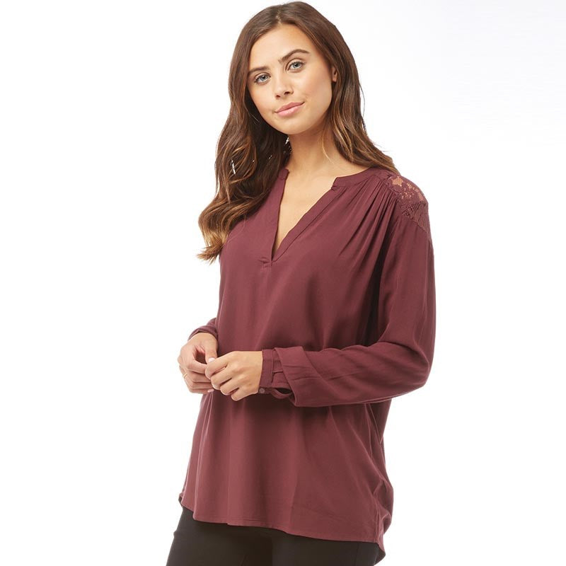 Jacqueline De Yong Womens Liva Long Sleeve Loose Top Vineyard Wine
