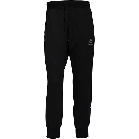 Reebok Mens Workout Cotton Graphic Cuffed Track Pants Black