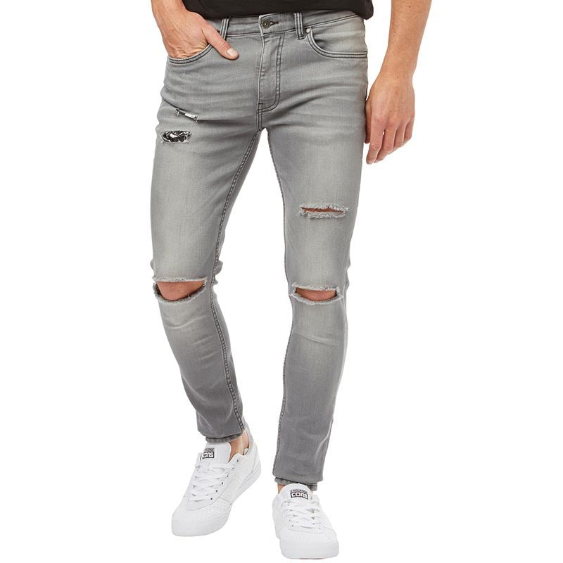 Ringspun Mens Hercules Super Skinny Fit Jeans With Rips Grey