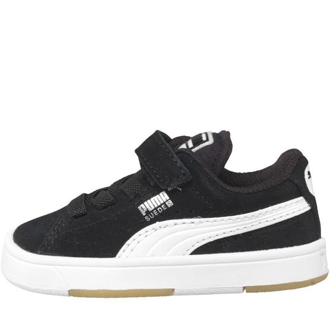 Puma Infant Boys Suede Velcro Trainers Black/White