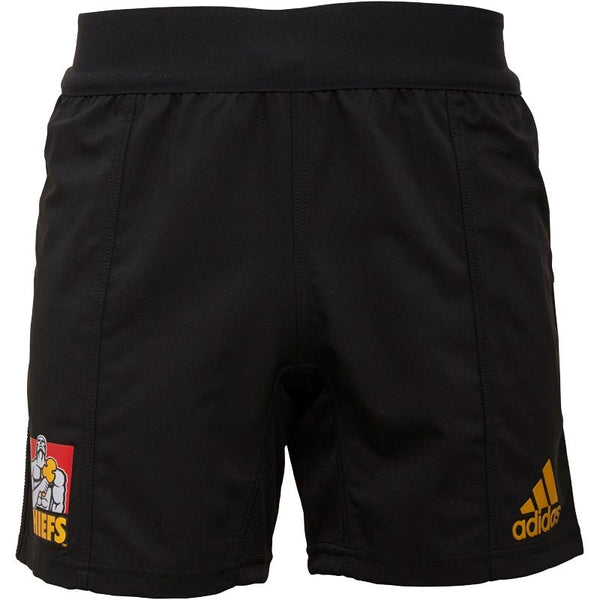 adidas Mens Super Rugby Chiefs Territory Shorts Black/Gold/Scarlet