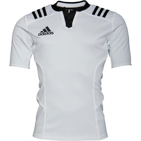 adidas Mens 3 Stripe Fitted Rugby Jersey White Black 3b84f9cb6