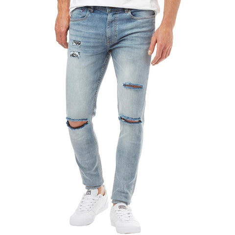 Ringspun Mens Hercules Super Skinny Fit Jeans With Rips Light Blue