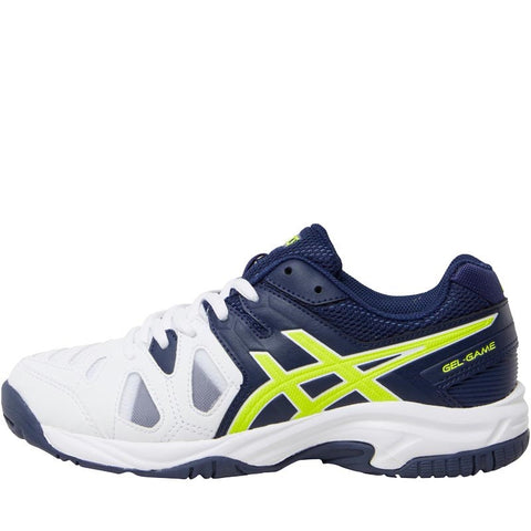 Asics Junior Boys Gel Game 5 Tennis Shoes White/Indigo Blue/Safety Yellow