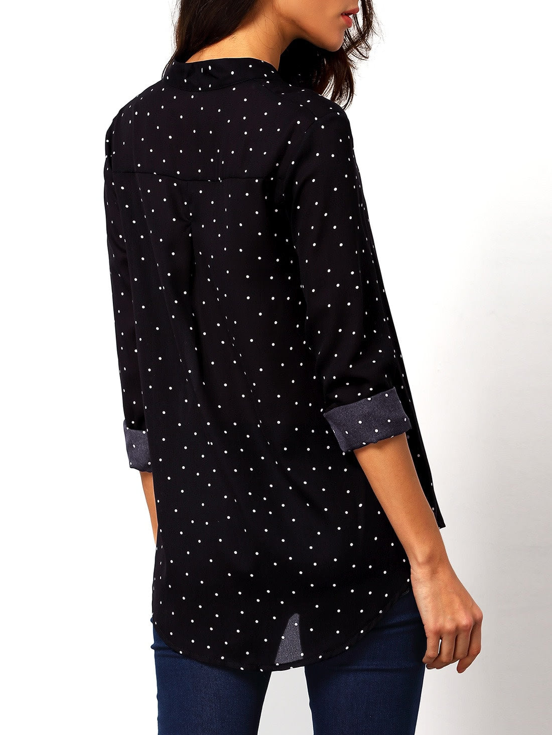 chemisier à pois -Noir - www.maboutiquefashion.com