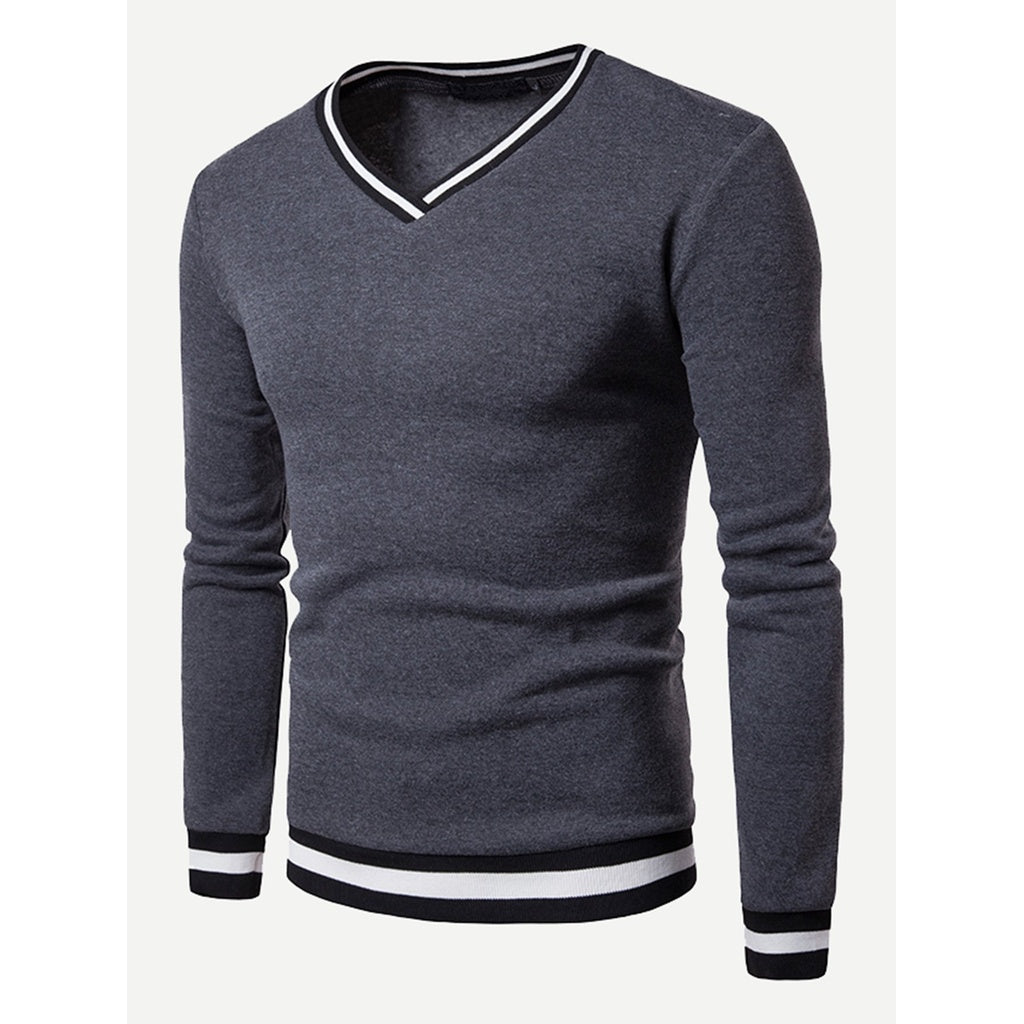 Homme Sweat-shirt contrasté à col en V - www.maboutiquefashion.com