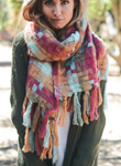 Beautiful Warm Light Blue, Pink & Orange Mix Patchwork Long Tassel Scarf - www.maboutiquefashion.com