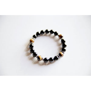 Genuine Black Onyx & Tiger's Eye Bracelet w/ Sterling Silver Accents~ Focus, Protection and Luck - www.maboutiquefashion.com