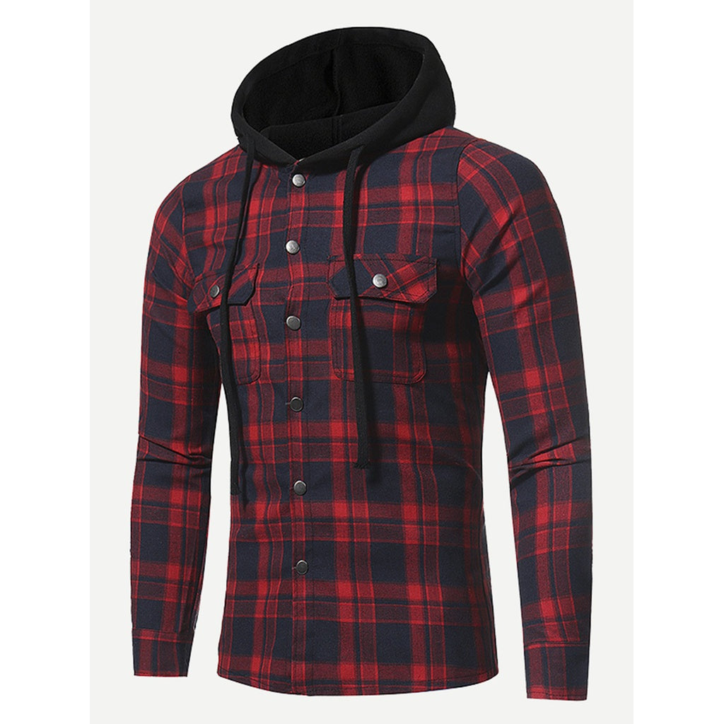 Men Plaid Hooded Jacket - www.maboutiquefashion.com