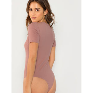 Solid Form Fitting Bodysuit - www.maboutiquefashion.com