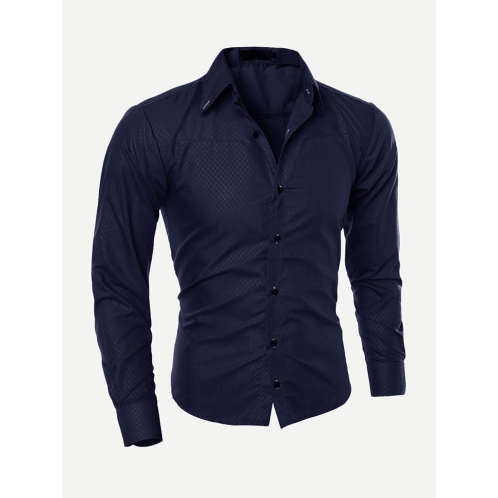 Men Plain Curved Hem Shirt - www.maboutiquefashion.com