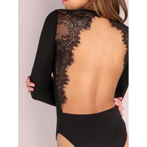 Juste-au-corps dos ouvert / Backless Lace Applique Bodysuit