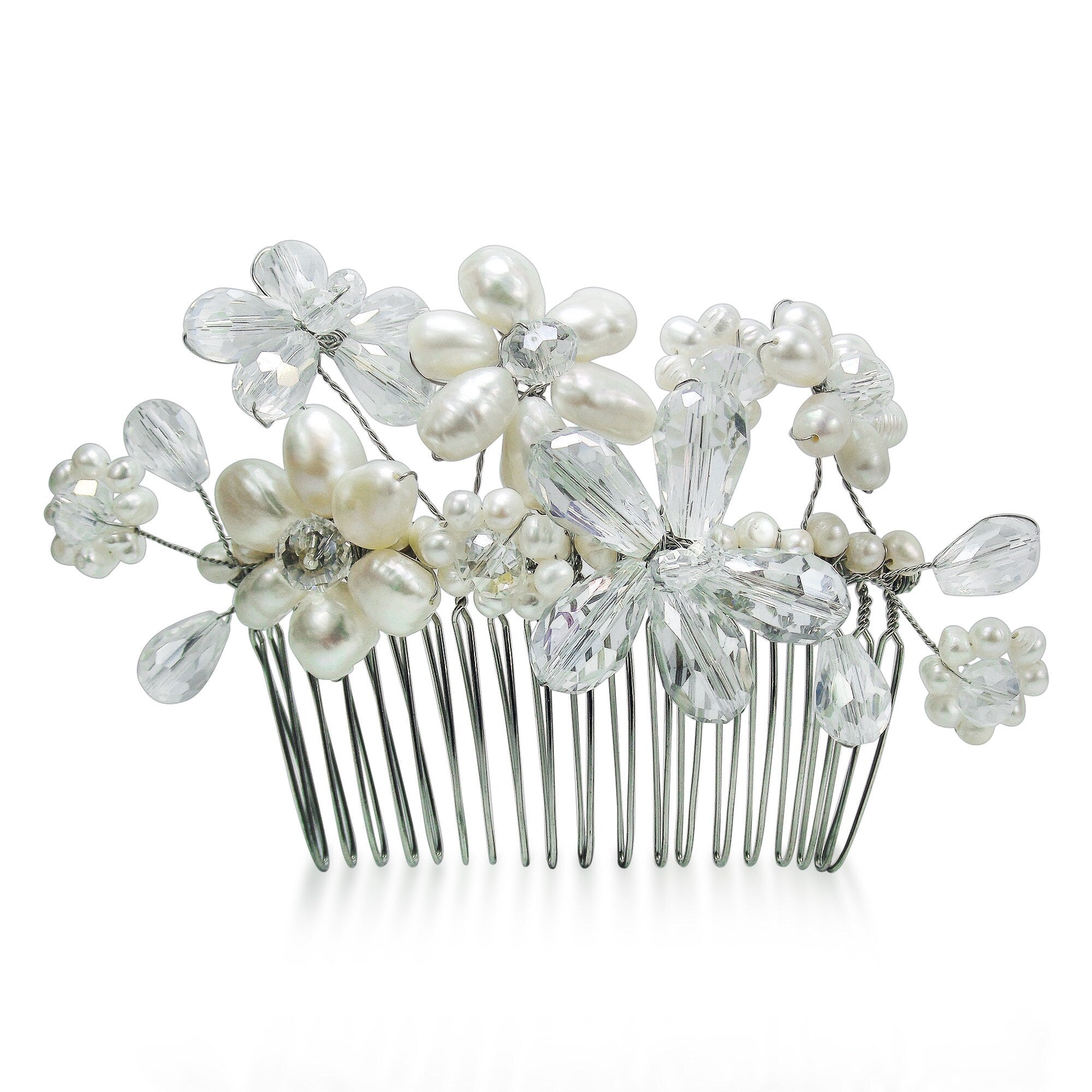 Shop Handmade Floral Serenity White Pearls and Crystals Bridal Hair Comb (Thailand)