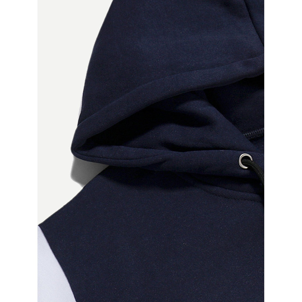 Men Cut And Sew Panel Hoodie
