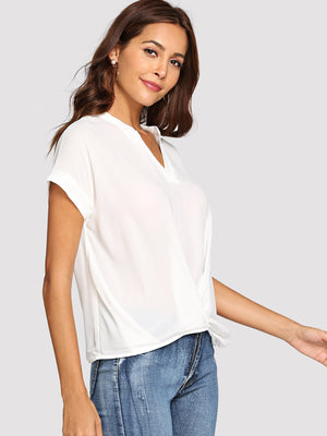 Draped V Neck Plain Top - www.maboutiquefashion.com