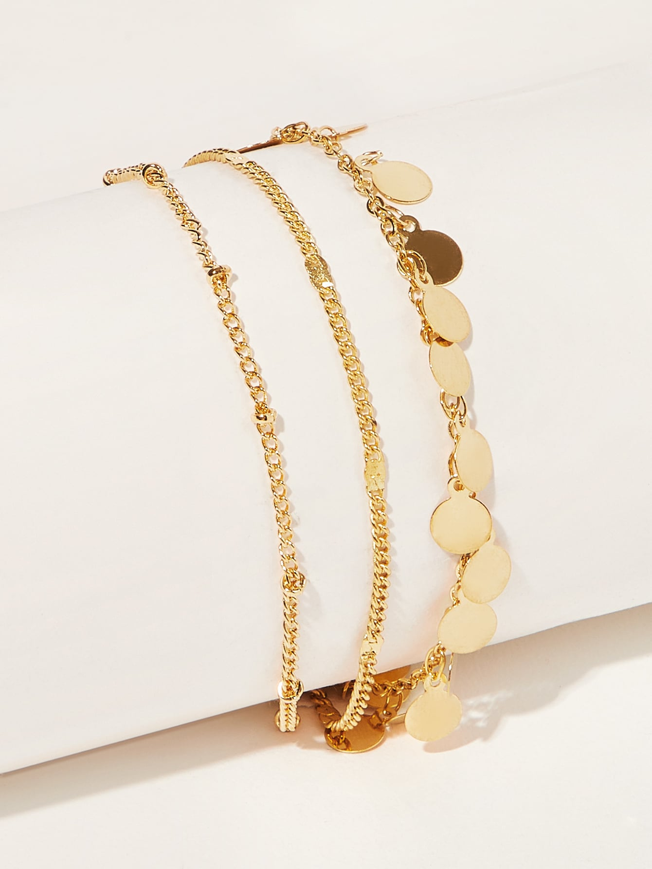 Disc Detail Multilayered Chain Anklet 1pc