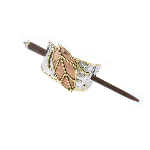 Shop Handmade Copper and Brass Leaf Stainless Steel Hair Slide (India)