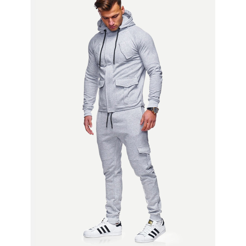 Men Plain Hooded Jacket With Drawstring Pants - www.maboutiquefashion.com
