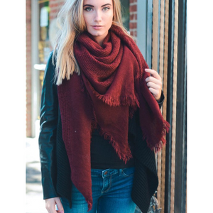 Warm Burgundy Open Weave Square Scarf / Blanket