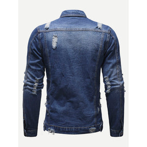 Men Destroyed Denim Jacket - www.maboutiquefashion.com