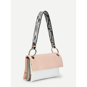 Ring Detail Flap PU Shoulder Bag
