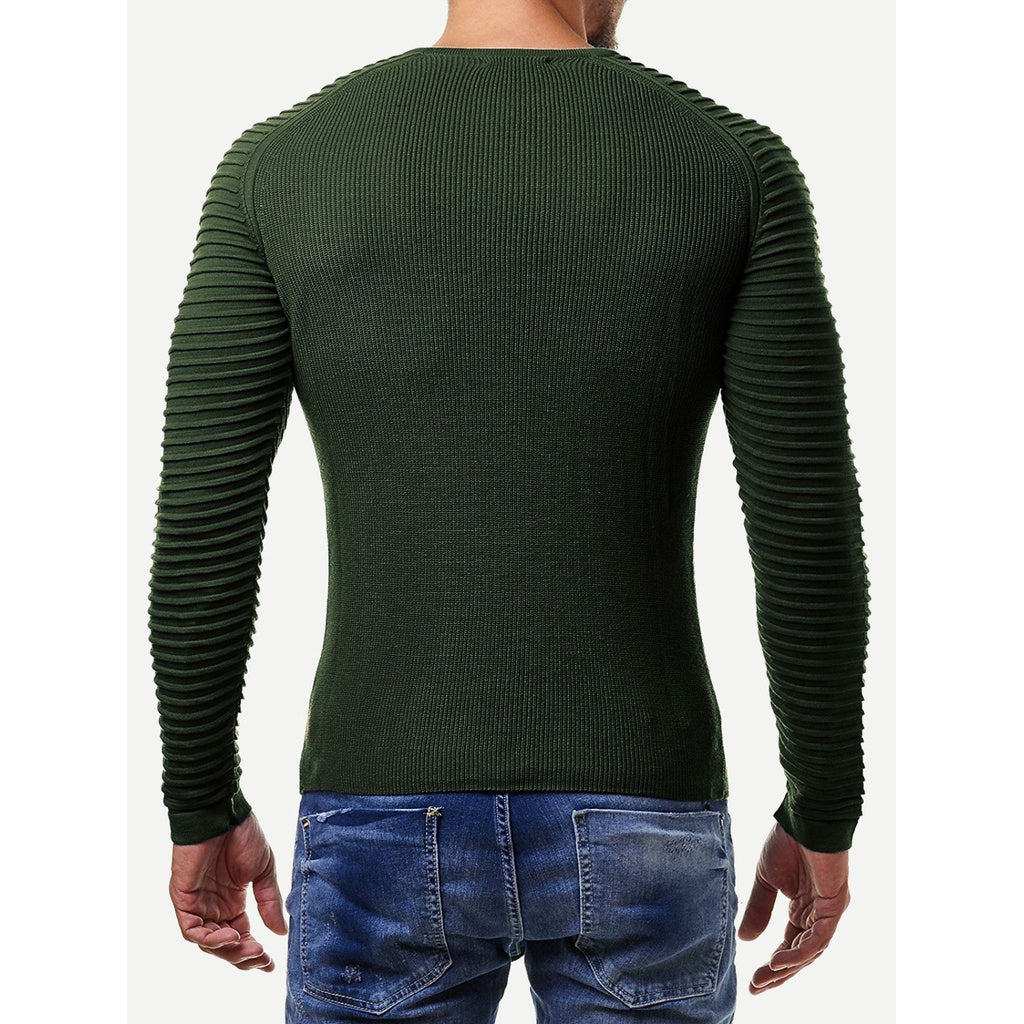 Men Striped Textured Raglan Sleeve Sweater