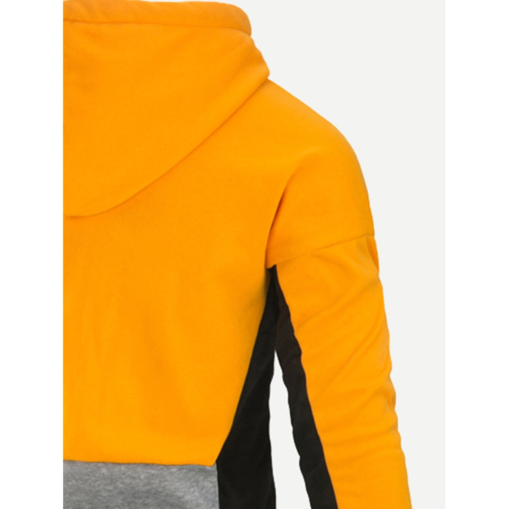 Men Cut And Sew Panel Hooded Sweatshirt - www.maboutiquefashion.com