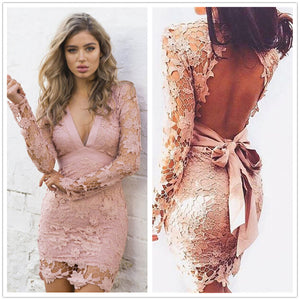 Black Pink Backless Deep V neck Sexy Lace Dress 2016 New Fashion Embroidery Hollow Out Long Sleeve Elegant Women Party Dresses - www.maboutiquefashion.com