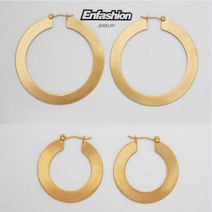 Enfashion Vintage Large Hoop Earrings Matte Gold color Earings Stainless Steel Circle Earrings For Women Jewelry oorbellen - www.maboutiquefashion.com