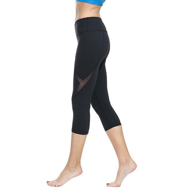 Women Sports Tights Capris Gym Slim Yoga Pants High Waist Stretch Workout Leggings Sportswear Clothes Fitness Trousers for Women - www.maboutiquefashion.com