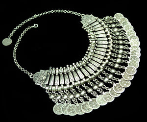 Women Bohemian Coin Statement Bib Necklace Festival Turkish India Tribal
