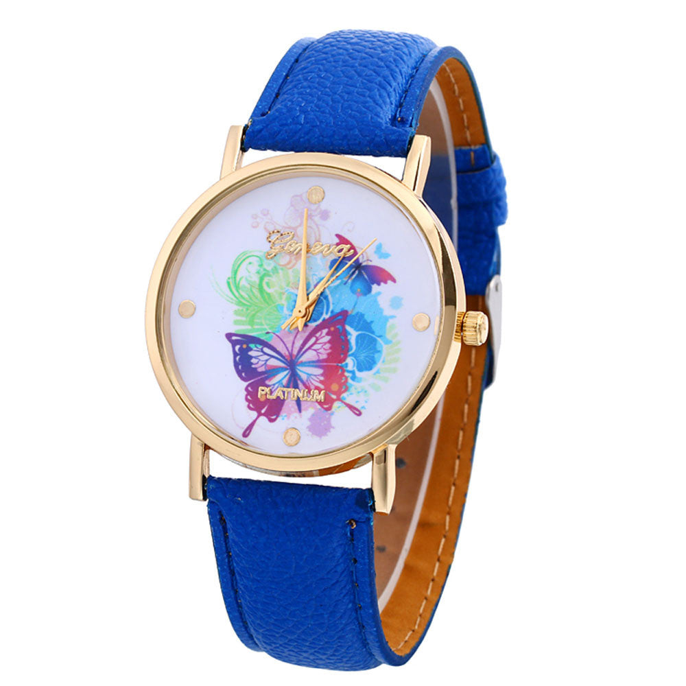 Butterfly Patterns Leather Band Analog Quartz Vogue Wrist Watches - www.maboutiquefashion.com