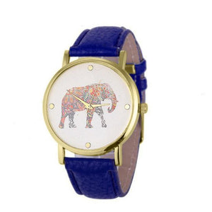 New Women Elephant Printing Pattern Weaved Leather Quartz Dial Watch - www.maboutiquefashion.com