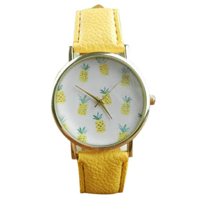 Pineapple Pattern Leather Band Analog Quartz Vogue Wrist Watch