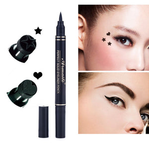 Hot Women's 2 in1 Eyeliner Makeup Trendy Black Waterproof Liquid Eyeliner Pencil maquillaje Star Heart Shape Dot Stamp Tattoo - www.maboutiquefashion.com