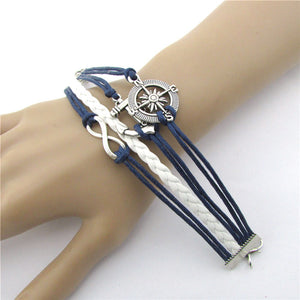 Hot Infinity Love Anchor Compass Leather Charm Bracelet Plated Silver - www.maboutiquefashion.com