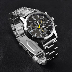Luxury Men  Date Watch Stainless-steel Leather Military Analog-Quartz Watch - www.maboutiquefashion.com