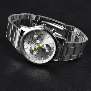 Luxury Men  Date Watch Stainless-steel Leather Military Analog-Quartz Watch