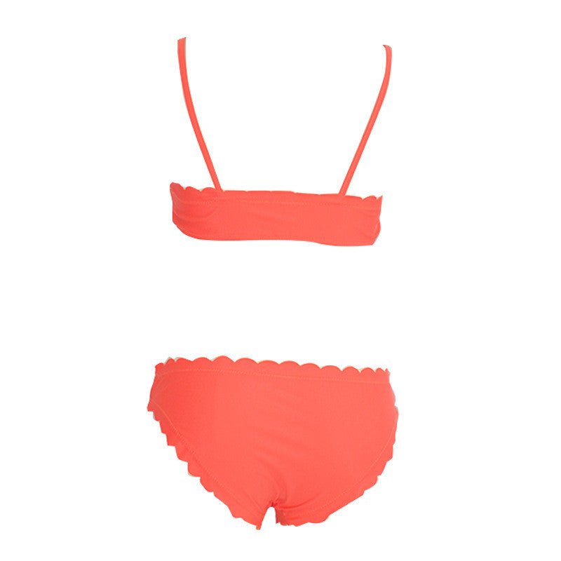 Two-Pieces Pure Color Swimsuit Flower Trimed Sexy Bikini Swimwear